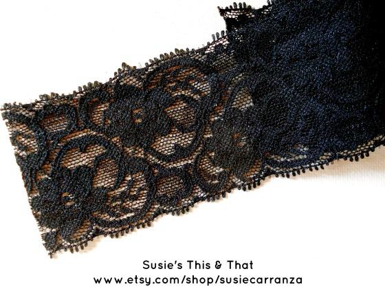 black floral Raschel stretch lace trim
