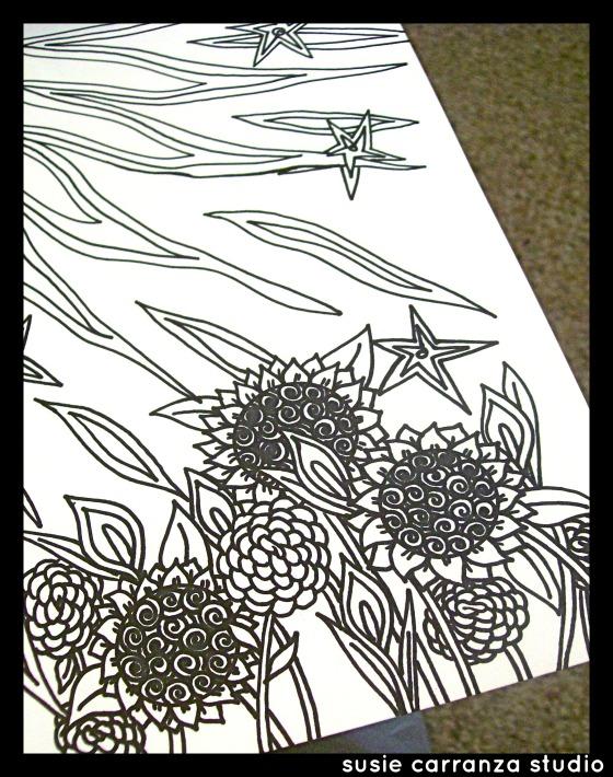 black&whiteflowerdrawingWM