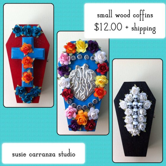 hand painted and embellished mini coffins, Dia de los Muertos style