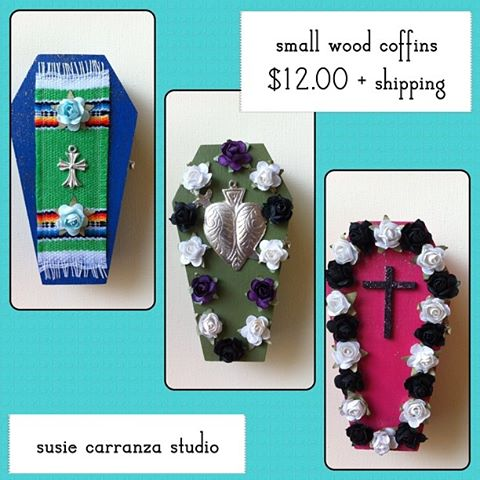 mini wood coffins, hand painted and embellished Dia de los Muertos style