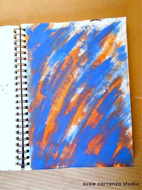blue and orange brush strokes
