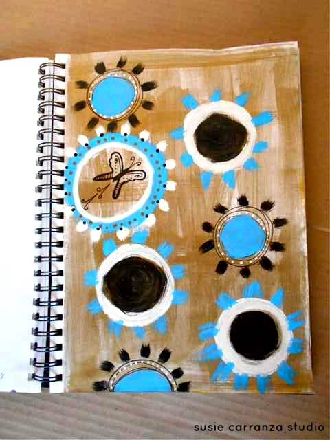 turquoise black circles on gold