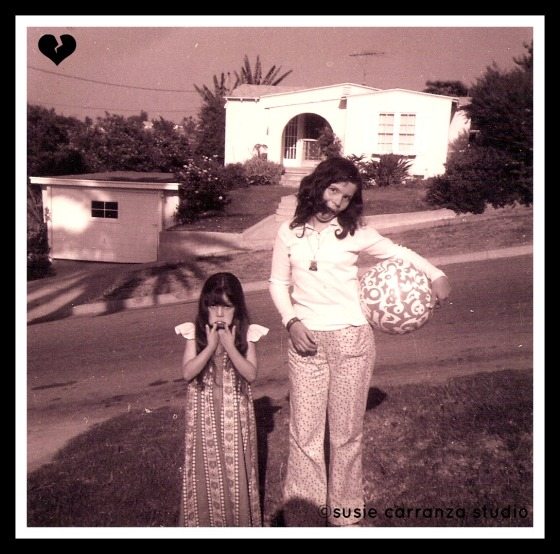 me & my sister patty at our old house