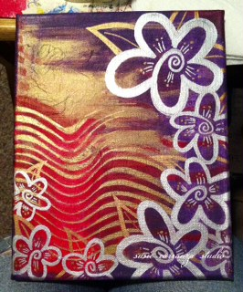 purple, red, gold canvas WIP/instagram pic