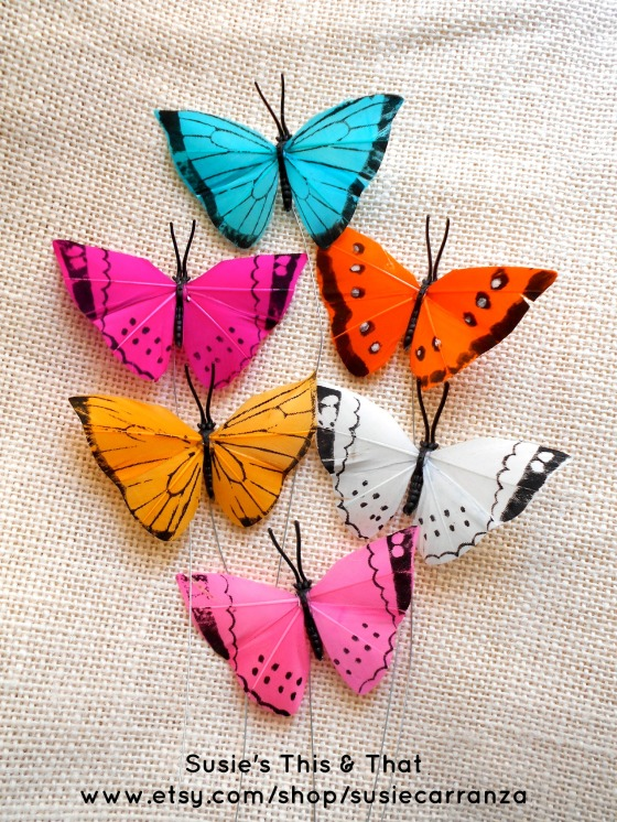 feather butterflies in Etsy supply shop