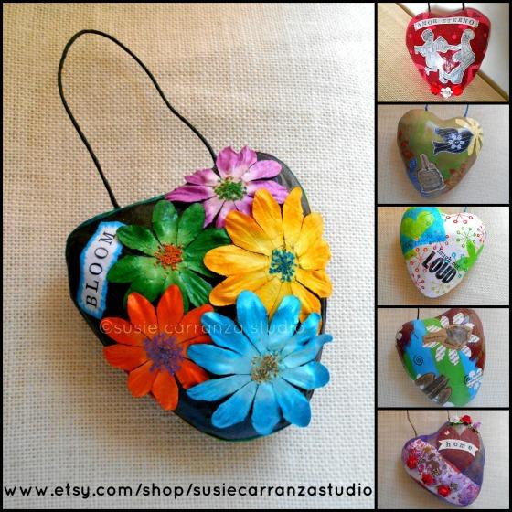 mixed media heart ornaments @susie carranza studio
