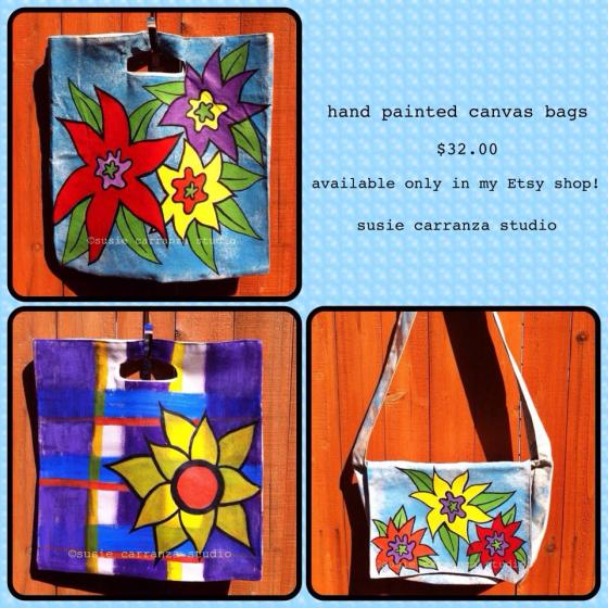 hand painted bags/text