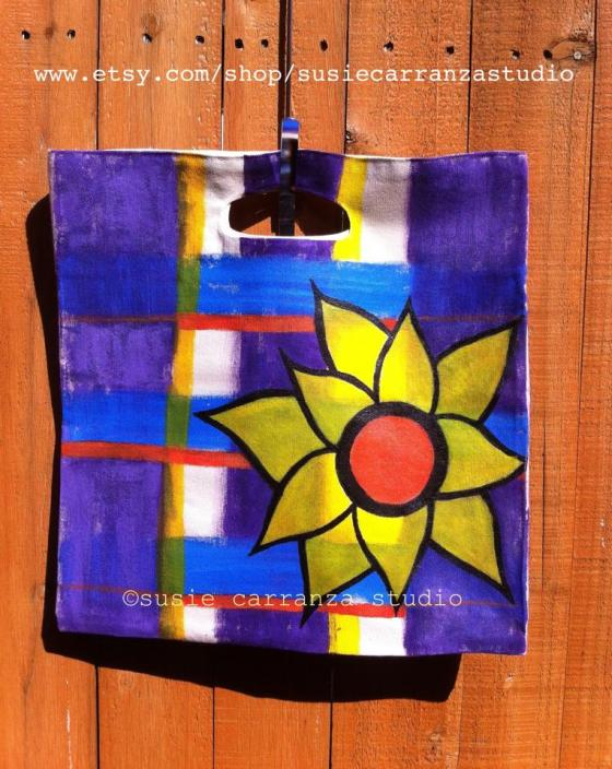 hand painted canvas tote/purple & blue plaid, sunflower
