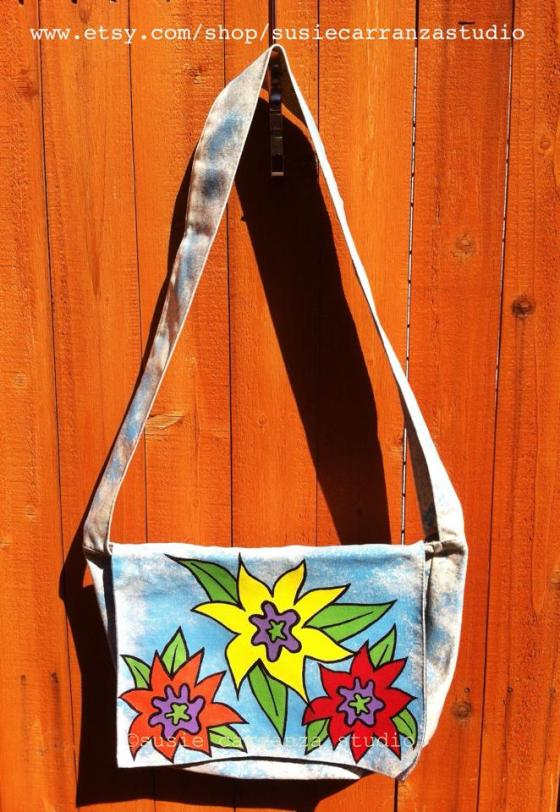 hand painted messenger bag/orange, yellow, red