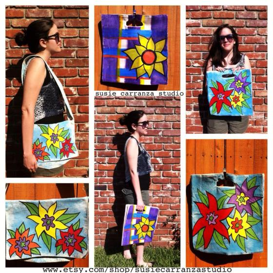 hand painted bags/collage