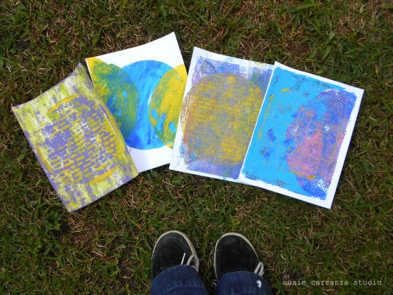 first round gelli prints