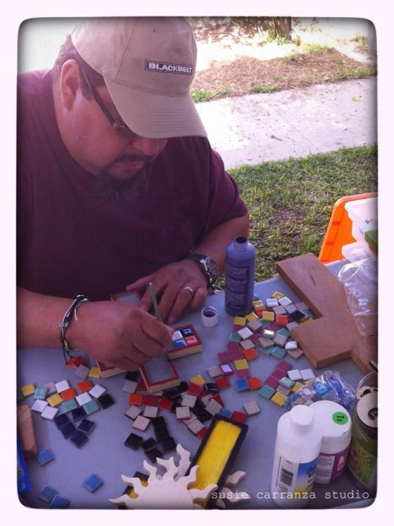 lawrence creating mosaic crosses