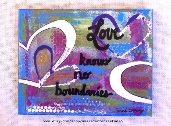 Love knows no boundaries: mixed media original