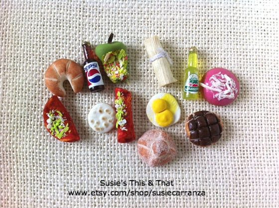 set of 12: miniature food & drink items...