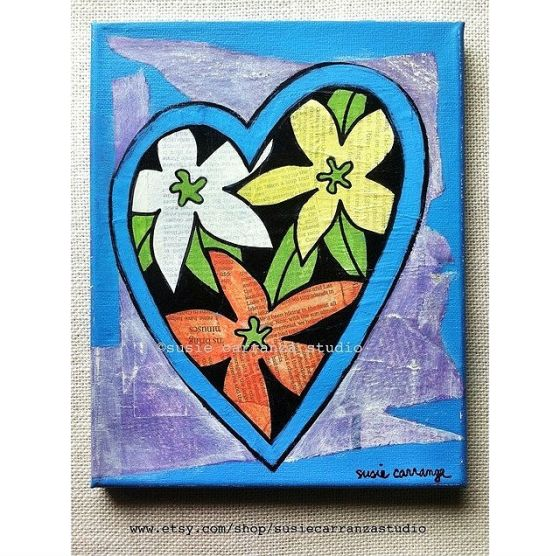 "new mixed media piece: ""Flower Heart"", available in my Etsy shop"