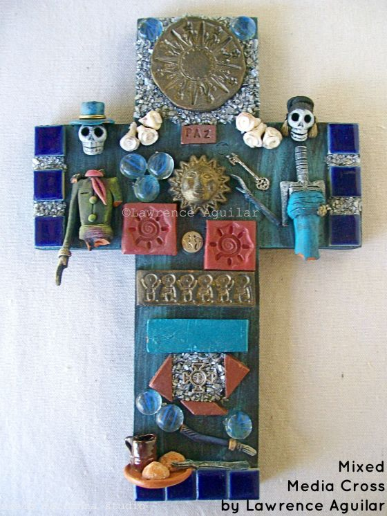 DOD mixed media cross, Lawrence Aguilar