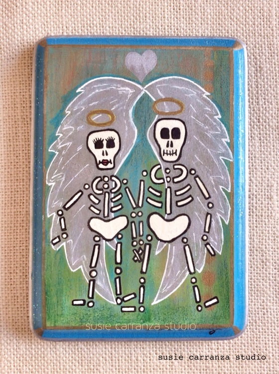 "Day 9: ""Still Together"", mixed media on 5"" X 7"" wood plaque."