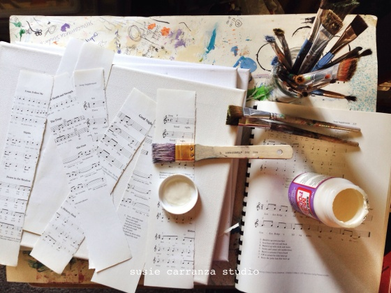 prepping canvases - susie carranza studio
