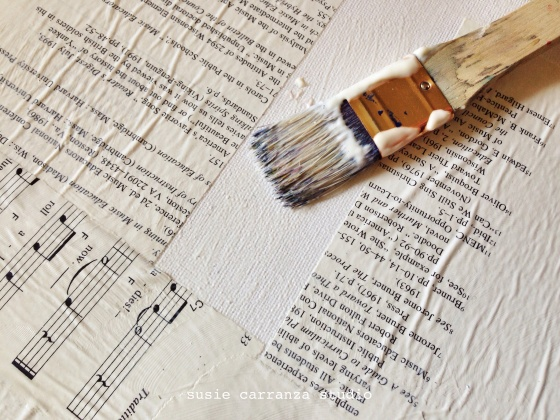prepping canvas (music book pages) - susie carranza studio