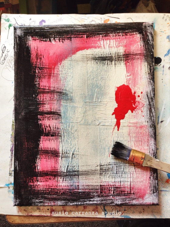art therapy (red & black canvas) - susie carranza studio