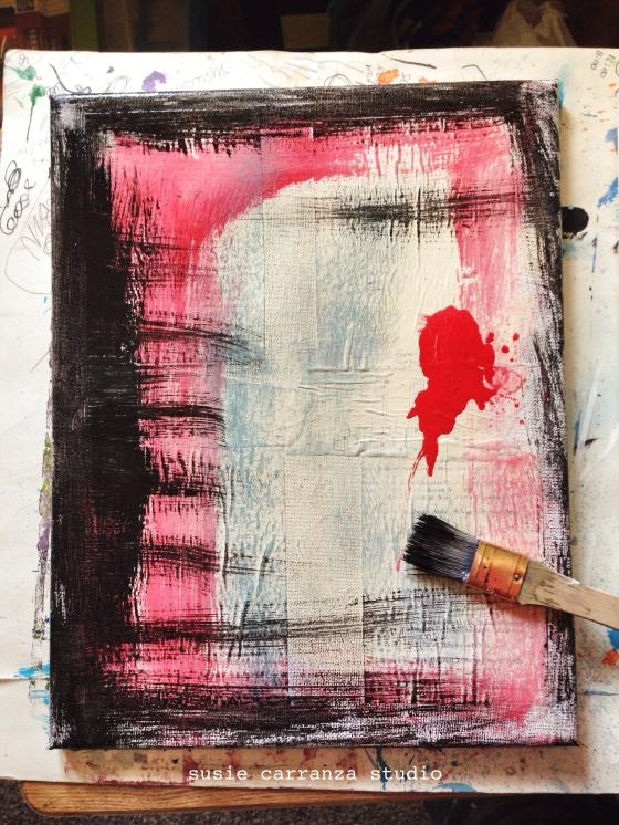 art therapy (red & black canvas) - susie carranza studio