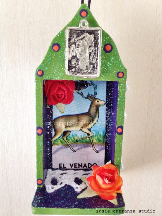 ornament: Frida with El Venado Loteria card...