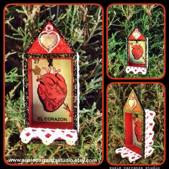 """El Corazon"" nicho ornament, $12 in my Etsy shop. www.susiecarranzastudio.etsy.com"