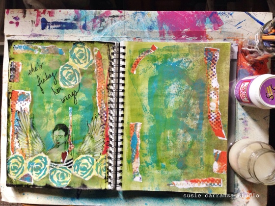 added strips of gelli prints...
