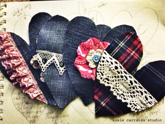 currently working on: hand stitching heart ornaments with recycled fabrics, vintage lace, beads and buttons...