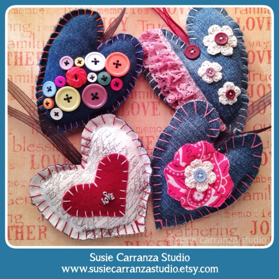 New hand stitched heart ornaments in my Etsy shop...