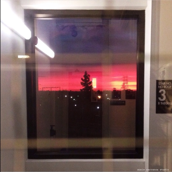 Caught the sunset through the ICU stairwell window...