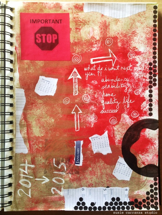last art journaling pages of 2014... - susie carranza studio