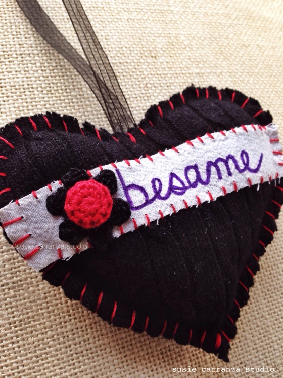 """Besame"" (""Kiss Me"") Heart Ornament - susie carranza studio"