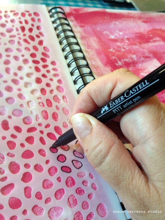 adding black with my Faber-Castell PITT artist pen (love!)...