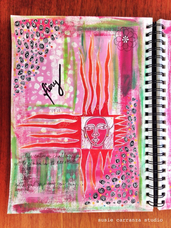 """fiery"" journal page (Balzer Designs face stencil) - susie carranza studio"