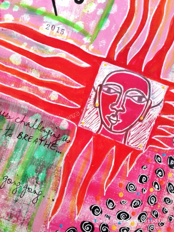 "close up: ""fiery"" journal page - susie carranza studio"