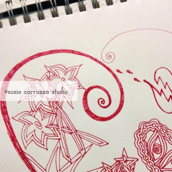 """feeling red"" (in progress) ©susie carranza studio July 2015"