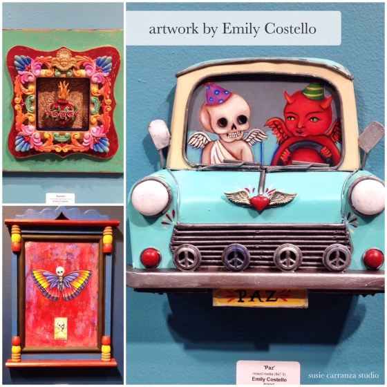 painting, mixed media, assemblage art pieces by Emily Costello