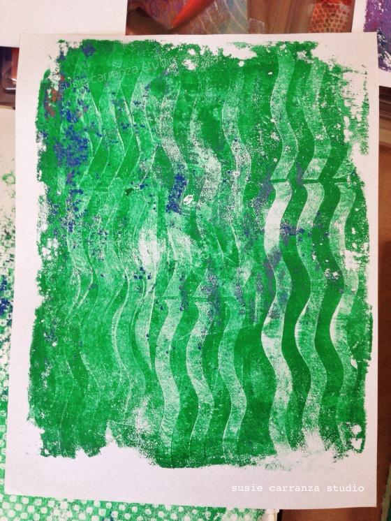 gelli print done with wavy roller - susie carranza studio