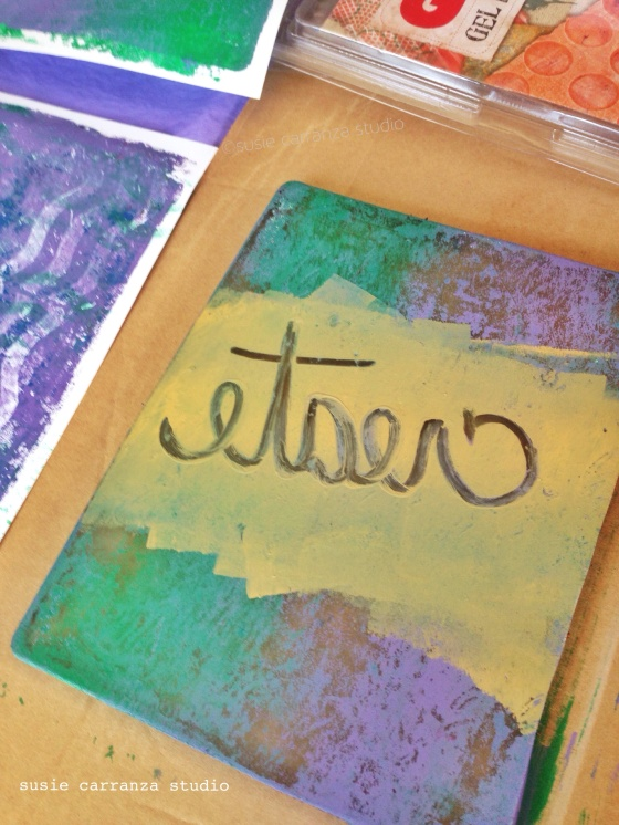 remember to write words backwards on your Gelli Plate!