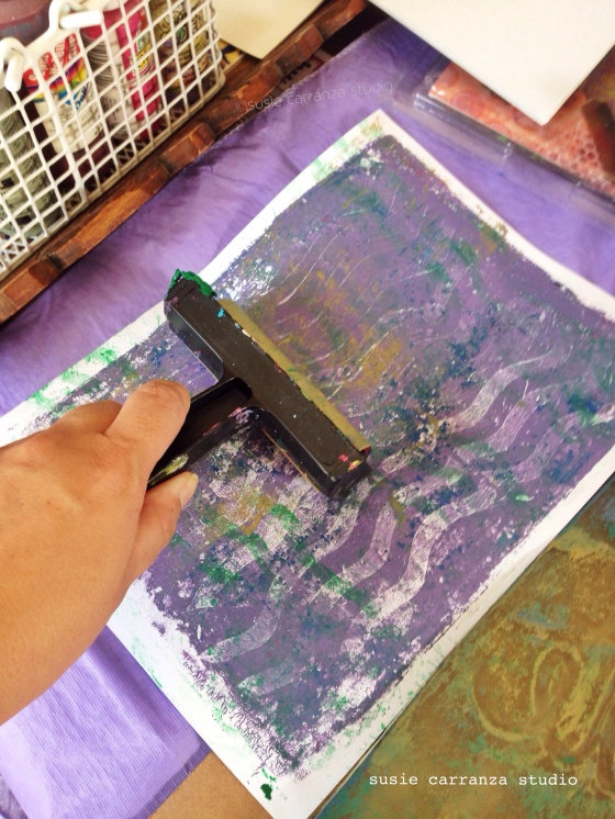 keep scrap paper handy to clean off Gelli Plate and brayer...