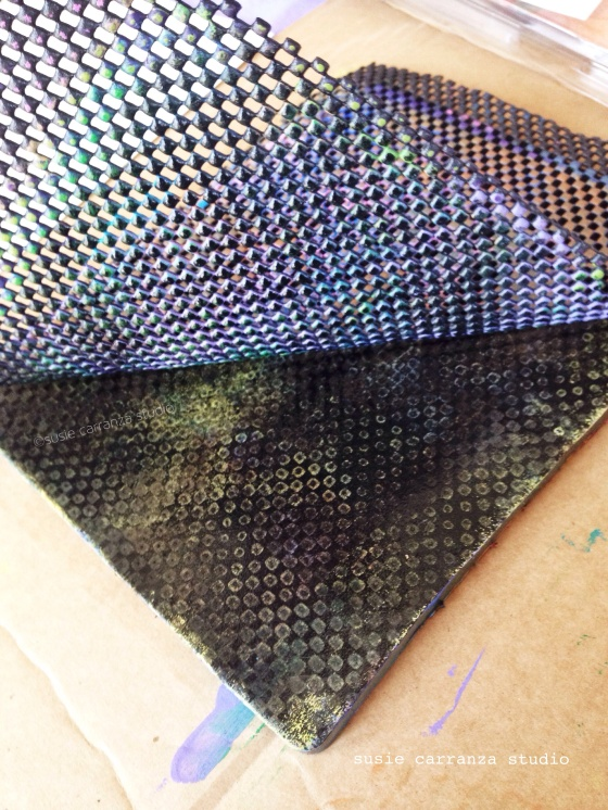 one of my favorite gelli printing items: inexpensive shelf liner...