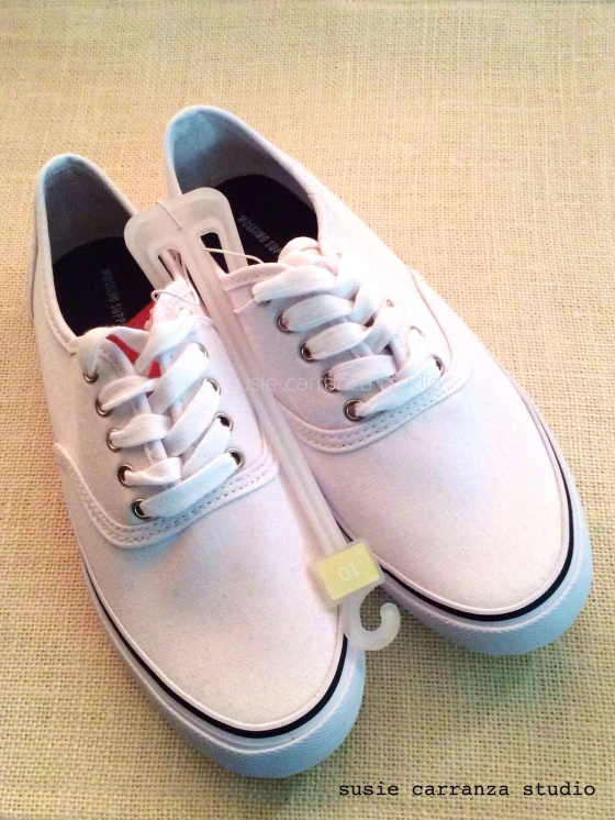 My blank canvas: a white pair of canvas shoes from Target...