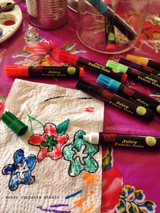 Doodling ideas on a napkin with Crafty Chica Juicy Fabric Inks...