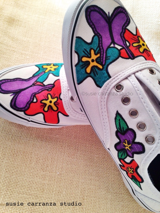 Hand painting canvas shoes - susie carranza studio