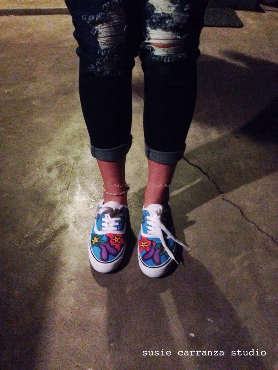 Sarah wearing her new hand painted shoes - she loved them! :)