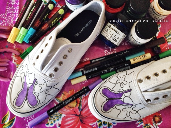 Purple butterflies done with Tsukineko Fabrico markers in Wisteria - susie carranza studio