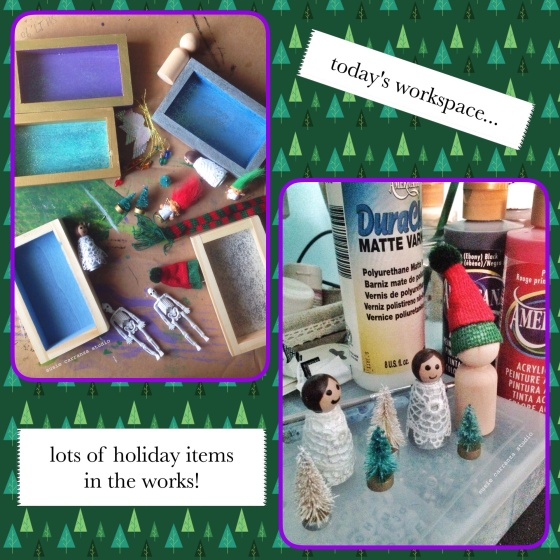 Today's workspace: holiday dioramas in the works! - susie carranza studio