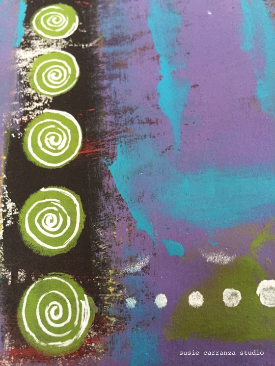 white ink added fun dimension to green dots...