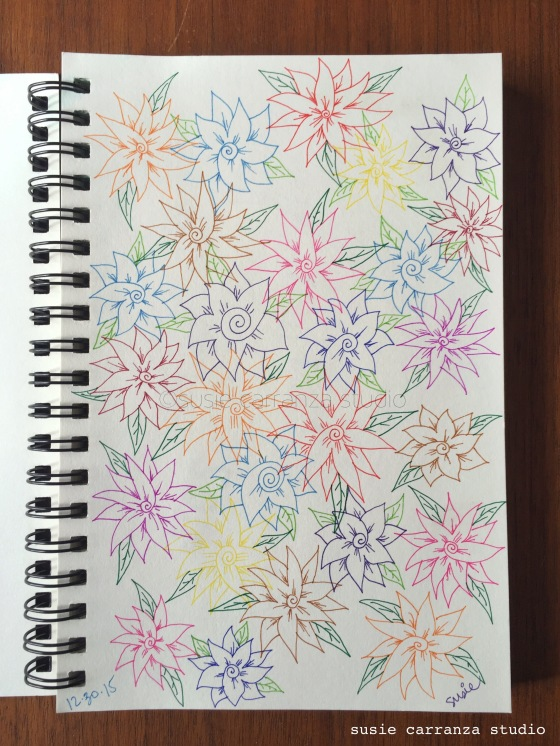 Flowers drawn with Staedtler fineliner pens - susie carranza studio